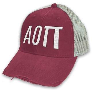 Alpha Omicron Pi Distressed Trucker Hat