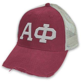Alpha Phi Distressed Trucker Hat