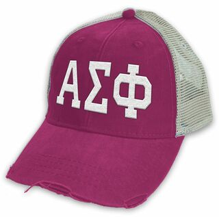 Alpha Sigma Phi Distressed Trucker Hat
