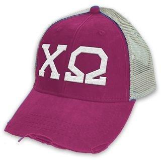 Chi Omega Distressed Trucker Hat