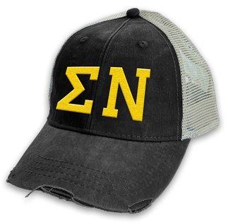 Sigma Nu Distressed Trucker Hat