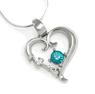 Zeta Tau Alpha Sterling Silver Heart Pendant with Swarovski Turquoise Crystal