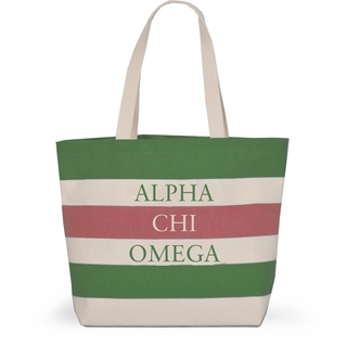 Alpha Chi Omega Bid Day Striped Tote