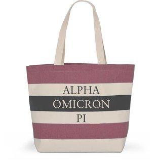 Alpha Omicron Pi Bid Day Striped Tote