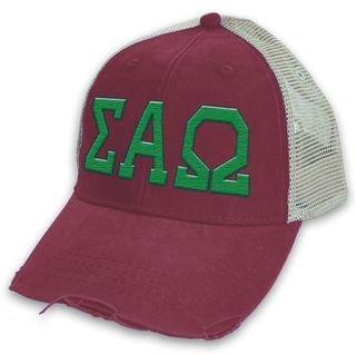 Sigma Alpha Omega Distressed Trucker Hat