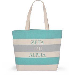 Zeta Tau Alpha Bid Day Striped Tote