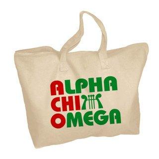 Alpha Chi Omega Mascot Zippered Tote Bag