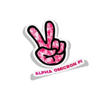 Alpha Omicron Pi Peace Hands Decal Sticker