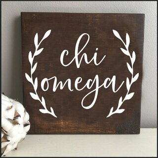 Chi Omega Wooden Wall Art