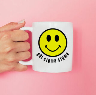 Phi Sigma Sigma Smiley Face Coffee Mug - Personalized!