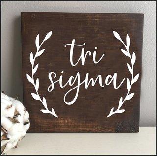 Sigma Sigma Sigma Wooden Wall Art