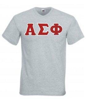 DISCOUNT- Alpha Sigma Phi Lettered V-Neck T-Shirt