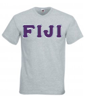 DISCOUNT- FIJI Fraternity Lettered V-Neck T-Shirt