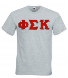 DISCOUNT- Phi Sigma Kappa Lettered V-Neck T-Shirt