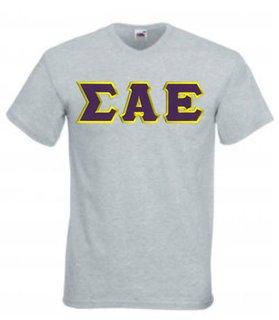 DISCOUNT- Sigma Alpha Epsilon Lettered V-Neck T-Shirt