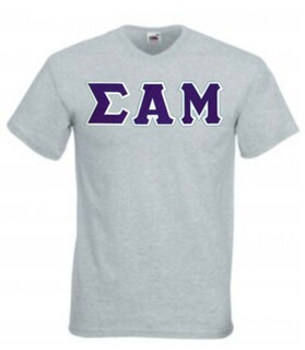 $18 Sigma Alpha Mu Lettered V-Neck T-Shirt
