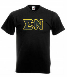 DISCOUNT- Sigma Nu Lettered V-Neck T-Shirt