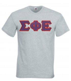 DISCOUNT- Sigma Phi Epsilon Lettered V-Neck T-Shirt
