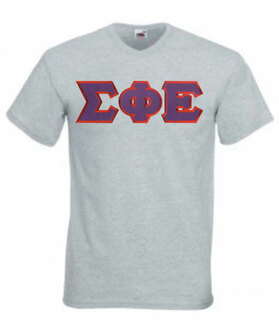 DISCOUNT- Sigma Phi Epsilon Lettered V-Neck T-Shirt