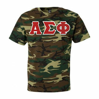 DISCOUNT- Alpha Sigma Phi Lettered Camouflage T-Shirt