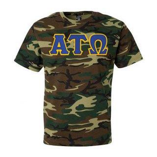 DISCOUNT- Alpha Tau Omega Lettered Camouflage T-Shirt