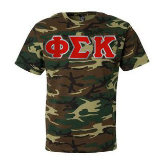 DISCOUNT- Phi Sigma Kappa Lettered Camouflage T-Shirt