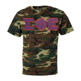 DISCOUNT- Sigma Phi Epsilon Lettered Camouflage T-Shirt