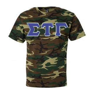 DISCOUNT- Sigma Tau Gamma Lettered Camouflage T-Shirt