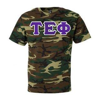 DISCOUNT- Tau Epsilon Phi Lettered Camouflage T-Shirt