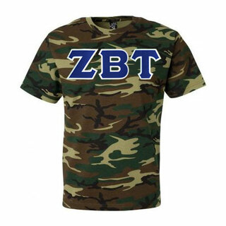 DISCOUNT- Zeta Beta Tau Lettered Camouflage T-Shirt