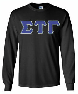 $25 Custom Satin Stitch Lettered Long sleeve T-Shirt