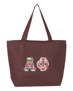 $19.99 Alpha Phi Custom Satin Stitch Tote Bag