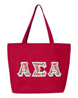 $19.99 Alpha Sigma Alpha Custom Satin Stitch Tote Bag