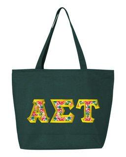 $19.99 Alpha Sigma Tau Custom Satin Stitch Tote Bag