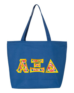 $19.99 Alpha Xi Delta Custom Satin Stitch Tote Bag