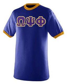 DISCOUNT- Omega Psi Phi Lettered Ringer Shirt