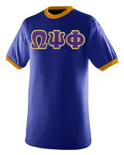 DISCOUNT- Omega Psi Phi Lettered Ringer Shirt