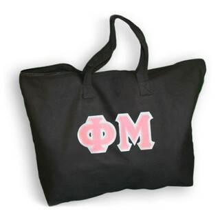 $19.99 Phi Mu Lettered Tote Bag