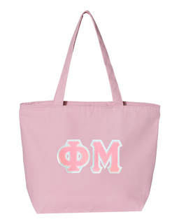 DISCOUNT- Phi Mu Lettered Tote Bag