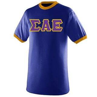 DISCOUNT- Sigma Alpha Epsilon Lettered Ringer Shirt