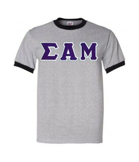 DISCOUNT- Sigma Alpha Mu Lettered Ringer Shirt