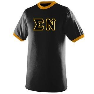 DISCOUNT- Sigma Nu Lettered Ringer Shirt
