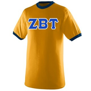 DISCOUNT- Zeta Beta Tau Lettered Ringer Shirt