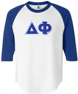 DISCOUNT- Delta Phi Lettered Raglan Shirt