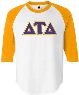DISCOUNT- Delta Tau Delta Lettered Raglan T-Shirt