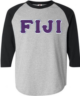 DISCOUNT- FIJI Fraternity Lettered Raglan T-Shirt