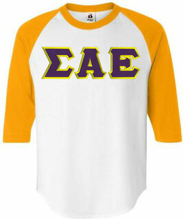$22.95 Sigma Alpha Epsilon Lettered Raglan T-Shirt