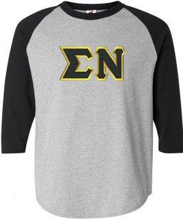 DISCOUNT- Sigma Nu Lettered Raglan T-Shirt
