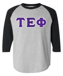 DISCOUNT- Tau Epsilon Phi Lettered Raglan T-Shirt