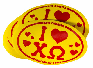25 Chi Omega Oval Decals - ONE LOW PRICE